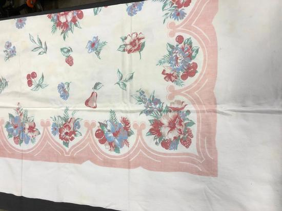 "table cloth 52""x70"" some yellowing stains"