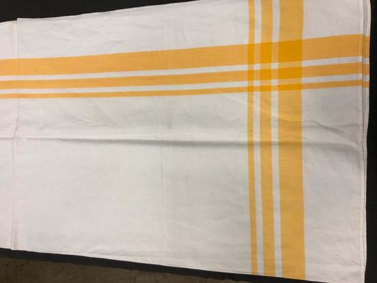 "yellow and white table cloth 68"" x 24"""