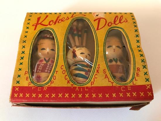 Set of Kokesi Dolls in Original Box, Includes a Pepper Pot, Salt Cellar and Cocktail Picks