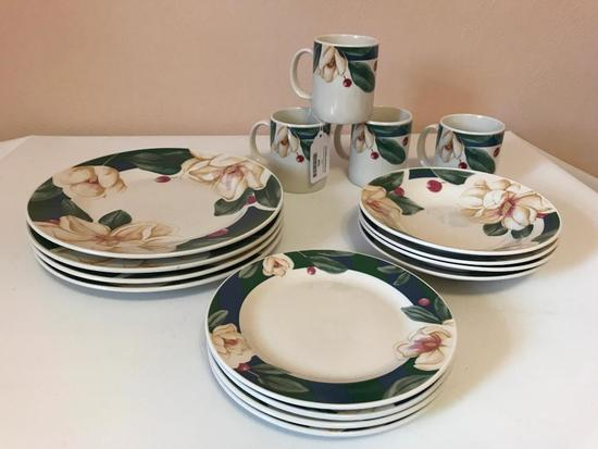 Service for 4 of Savannah Grove Collection of Stoneware China