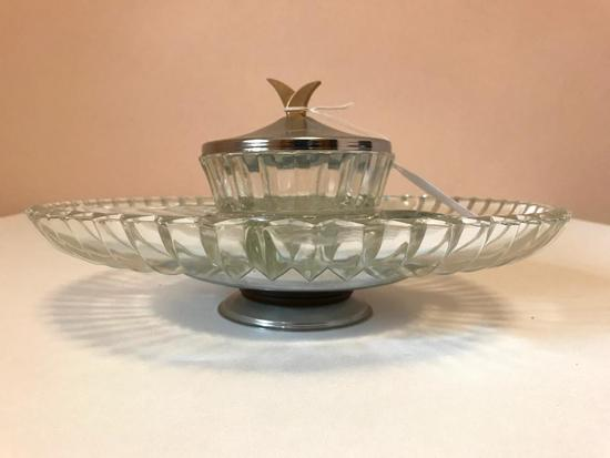 Glass and Chrome Lazy Susane, Approx. 12 Inches In Diameter