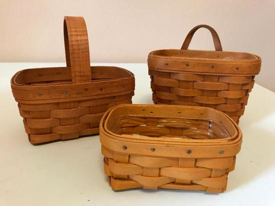 Three Small Longaberger Baskets, Smallest is 5 Inches Wide