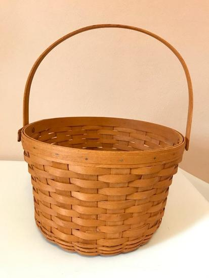 Large Longaberger Basket, 13 Inches in Diameter and 9 Inches Tall