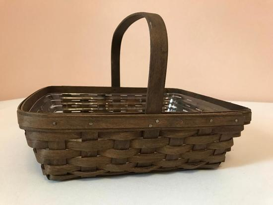Square Longaberger Basket, Just Over 10 Inches Square