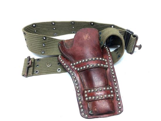 Vintage H. H. Heiser Leather Holster W/Military Belt