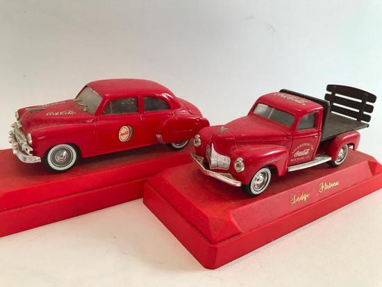 (2) Solido Coca Cola Diecast Vehicles On Stands