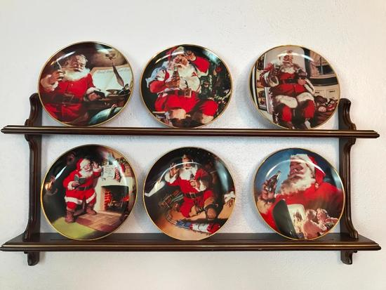 Set Of (6) 1994 Franklin Mint Coca-Cola Collector Plates W/Wooden Plate Rack