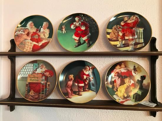 Set Of (6) 1995 Franklin Mint Coca-Cola Collector Plates W/Wooden Plate Rack