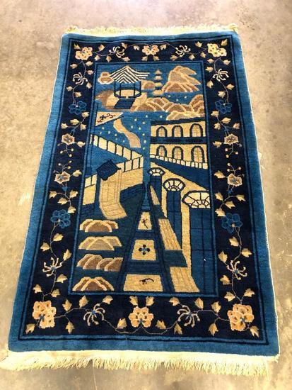 Handmade Antique Chinese Peking Carpet