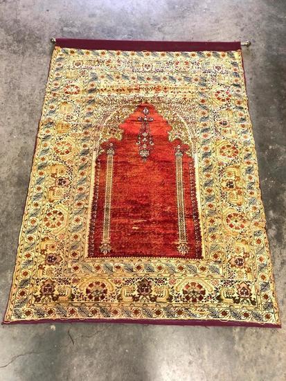 Antique Turkish Ghiordes Handmade Silk Prayer Rug