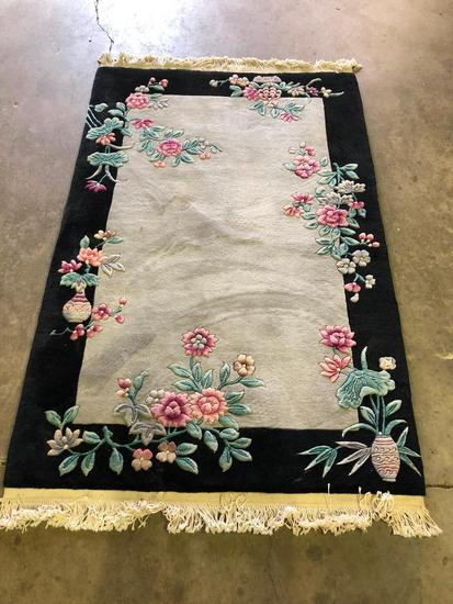 Chinese Sculpted Wool Handmade Floral Design Rug