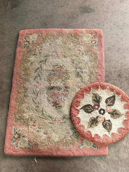 Two Hand Made, Folk Art Style Hooked Rugs