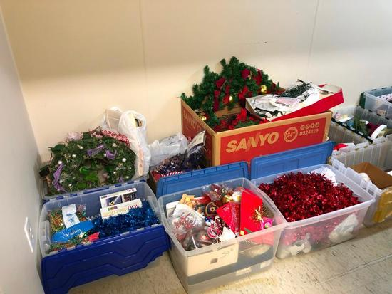 10 Boxes/Totes of Christmas Decorations and More