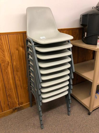 10 Plastic and Metal Stacking Chairs