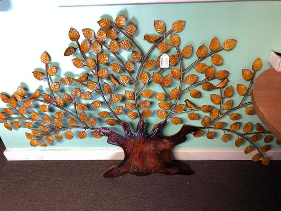 Approx. 6 Foot Wide Metal Tree, Wall Hanging Sculpture