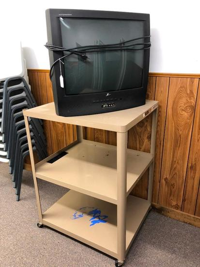 Metal Media Cart and Classic 25 inch Zenith TV