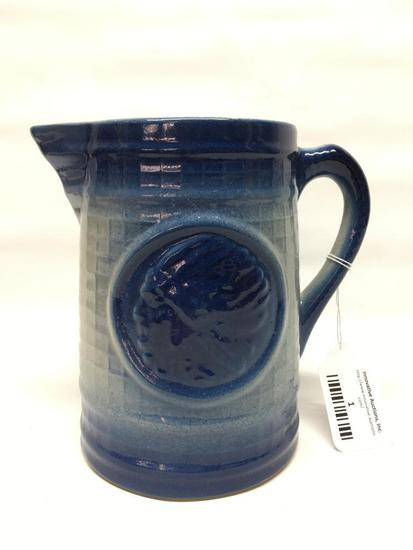 Vintage Blue & White Stoneware Pottery Pitcher W/Embossed Indian Chief