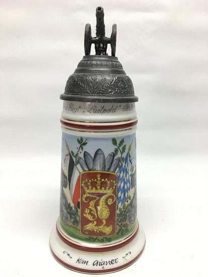 German Regimental Porcelain Beer Stein W/Cannon Finial
