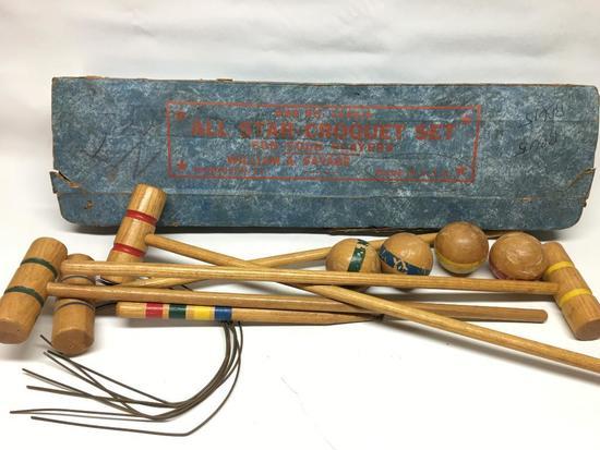 Vintage Child's Croquet Set W/Box