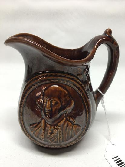 Vintage Brown Stoneware Pitcher W/George Washington Bust