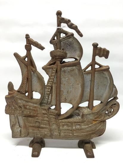 "Vintage Cast Iron ""Ship"" Doorstop"