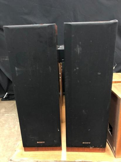Pair of Sony Tower Speakers, SS-U541AV, The Covers are a bit rough.