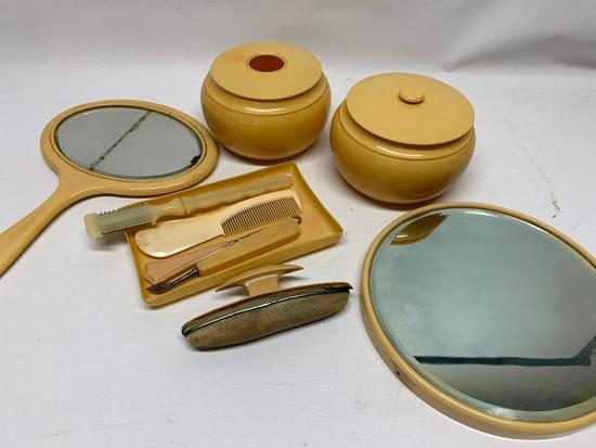 Vintage French Ivory/Celluloid Dresser Set