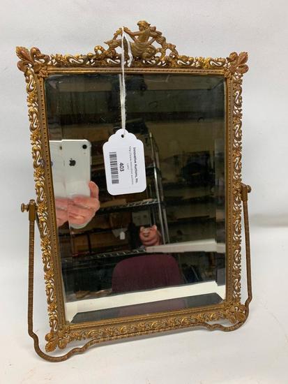 Vintage Gilt Over Brass Dresser Mirror W/Easel Back