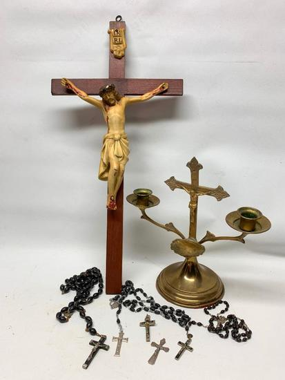 (3) Catholic Rosary's, Crosses, & Holy Water Font W/Candle Holders