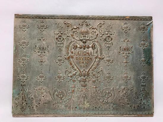 Embossed Brass National Cash Register Back Plate From Cash Register