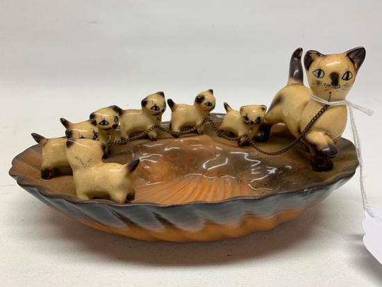 Vintage 1950's Ceramic Ashtray W/Siamese Cats