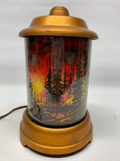 """Vintage """"Forest Fire"""" Motion Lamp-Working!"""