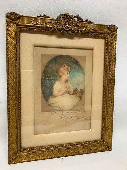 Vintage Framed Print Of Young Lady