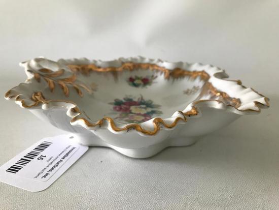 Vintage Porcelain Bowl W/Floral Transfer Design