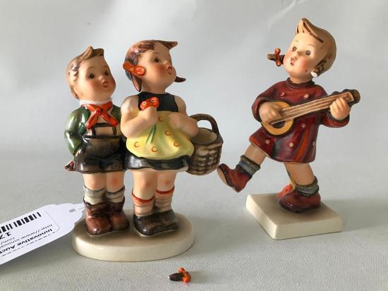 "(2) Hummel Figurines ""To Market"" & ""School Girl"" *Both Damaged*"