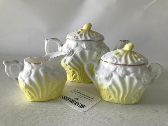 Antique Child's Embossed Porcelain (3) Pc. Tea set
