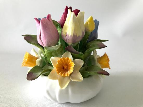 """Aynsley England"" Hand Painted Porcelain Flowers In Vase"