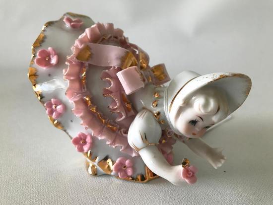 1960's Japan Porcelain Figurine W/Applied Flowers & Ribbon