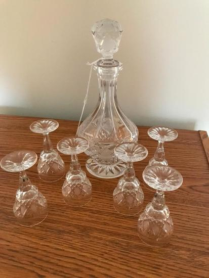 """Rossi"" Leaded Crystal Cordial Set From Czechoslovakia"