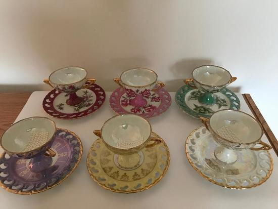 Set Of (6) Double Handled Cups W/Saucers