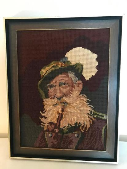 Framed Needlepoint Of German Gentleman