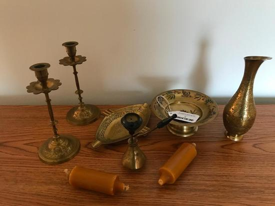 Group Of (6) Engraved Brass Items