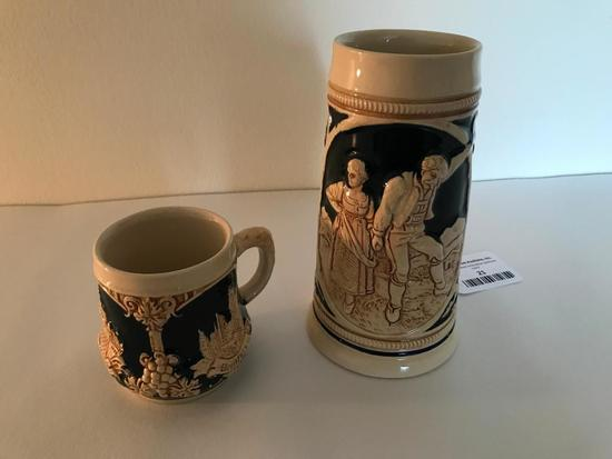 (2) German Stoneware Beer Mugs