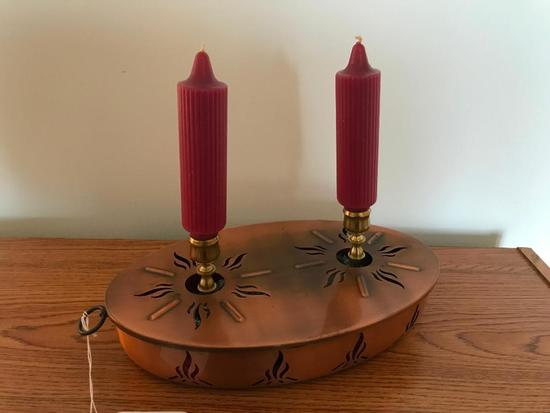 Oval Copper Candle Holder Frame W/Brass Candle Holders
