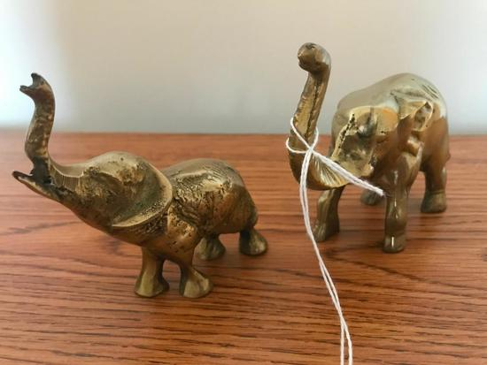 (2) Brass Elephants