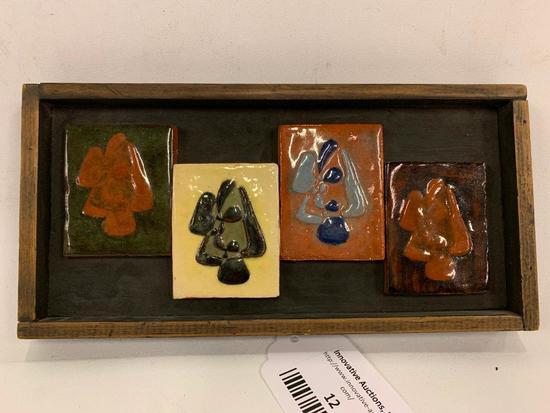 (4) Glazed Tiles In Frame