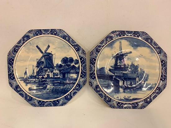 (2) Hand Painted Blue Delft Wall Plates