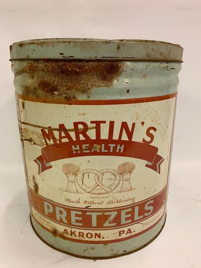 """Vintage """"Martin's Pretzels"""" 8Lb. Can W/Lid"""