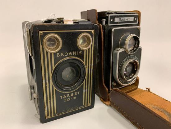 (2) Vintage Cameras: Brownie Target 6-16 & Ikoflex Zeiss Ikon