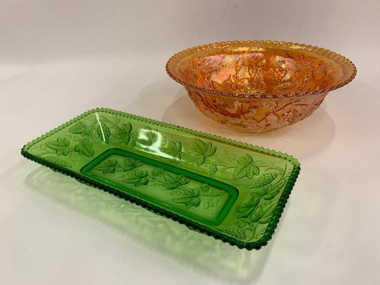 Carnival Glass Deep Bowl & Green Shallow Dish